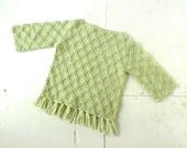 Vintage 60s Sweater | Celadon Green | Fringe Sweater | M L