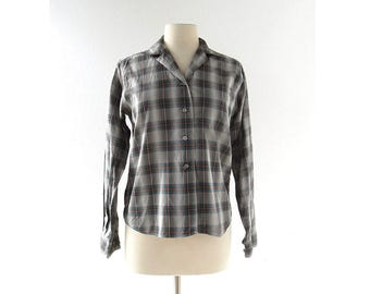 Vintage 60s Blouse | Tomboy Shirt | Shadow Plaid Shirt | S M
