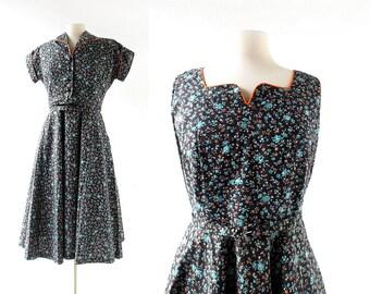 1940s Cotton Dress | Black Floral Dress | 40s Dress with Jacket | Medium M
