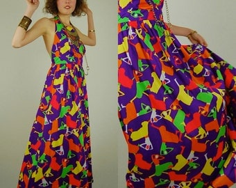 70s Summer Maxi Vintage 70s Purple Bright Graphic Geometric Open Back Summer Halter Maxi Dress (s m)