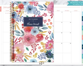 MONTHLY PLANNER | 2017 2018 no weekly view | choose your start month | 12 month calendar monthly tabs | pink blue white watercolor floral