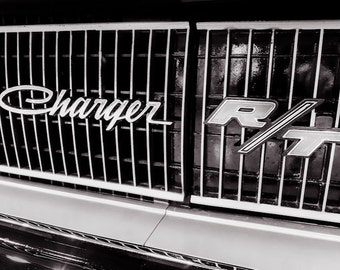 Dodge Charger R/T Grill Car Photography, Automotive, Auto Dealer, Classic, Muscle, Sports Car, Mechanic, Boys Room, Garage, Dealership Art