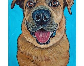 Custom Pet Portrait 11x14 Dog Painting Acrylic Original Painting Gift Art Dog Portrait