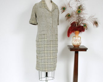 Vintage 1920s Sweater Dress - Chic and Rare Grey Wool Knit Boucle 20s Day Dress with Pale Green Checkerboard Skirt