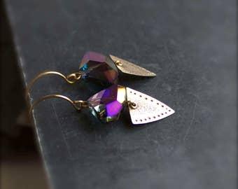 Purple Crystal Earrings - Magenta Pink, Teal Blue, Gold Brass Tribal Charm, Bohemian Boho Chic Jewellery