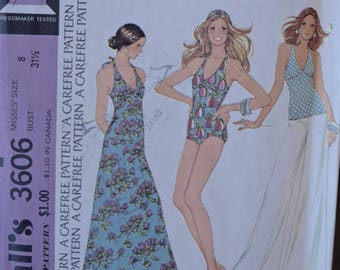 1970's McCall's 3606 Vintage Sewing Pattern One Piece Swimsuit Maxi Halter Dress and Halter Top Bust 31.5""