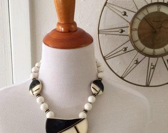 Vintage 80s Ceramic Beaded Bib Necklace with Art Deco Art Nouvea Black White and Gold Geometric Design