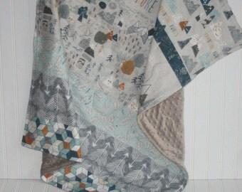 baby quilt- baby boy quilt- tribal baby quilt-minky baby quilt- blue baby quilt- woodland baby bedding- baby boy bedding- adventure quilt