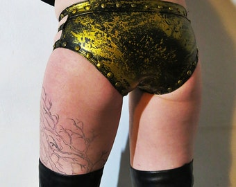 Hell Couture Gold Splatter Studded Rubber Panties
