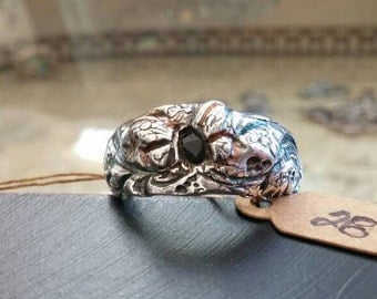 artisan fine silver abstract butterfly ring