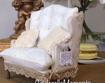 Dollhouse Miniature Custom Handmade Romantic Lace Chair & 1/2 Loveseat