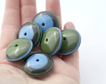 Vintage Lucite Spacer Beads Striped Green Blue Saucer 28mm Chunky (4)
