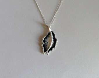 Feather / nature / sterling silver / pendant / necklace /