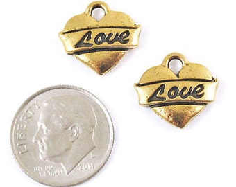 TierraCast Pewter Charms-Antique Gold LOVE HEART (2)