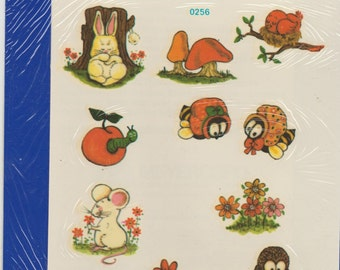 Vintage Tiny natureCreatures Rabbit,Owl snail  Decoupage water applied decal Meyercord Company,bunny,raccon,snail,flower, mouse, worm, apple