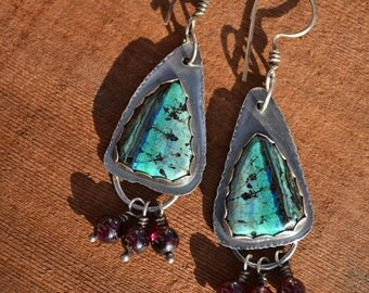 Chrysocolla Triangle Garnet Fringe Earrings Hand Fabricated Sterling Silver