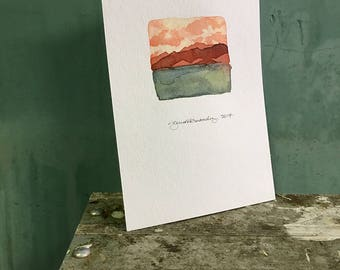 creamsicle / original watercolor / one of a kind painting