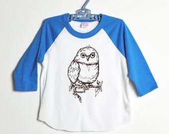 Owl Raglan Tee-  Neon Blue