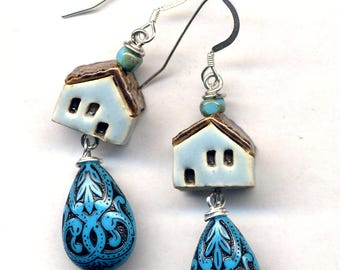 Blue Tiny Clay House Earrings, Sterling Silver Earrings, Turquoise Earrings, Art Deco Miniature Terracotta House Home Sweet Home Earrings