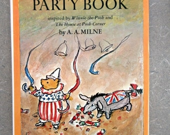 Vintage Book, Pooh Party Book, Winnie the Pooh, Kids' Party Book, Pooh Activities, 1970s Party Book, A.A. Milne, Ernest Shepard Illustration