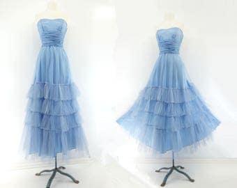 Vintage 1950s Dress 1950s Prom Dress 50s Blue Party Dress 1950s Maxi Dress Vintage Ruffle Dress 50s Formal Dress 1950s Tulle Dress s