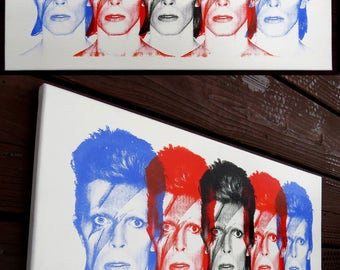 David Bowie 10x20 Screenprinted Canvas