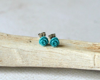 Teal Rose Titanium Earring Posts- Small Teal Flower Earrings- Flower Studs- Hypoallergenic Earrings- Great For Sensitive Ears- Blue Earrings