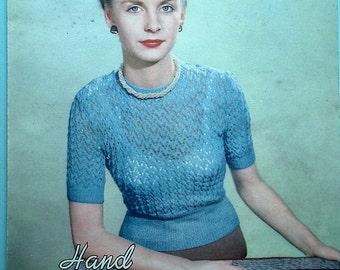 "Vintage Knitting Pattern 1940s 1950s Women's Jumper Sweater - 40s 50s original pattern Lavenda No. 221 UK - feminine lacy design - 34"" bust"