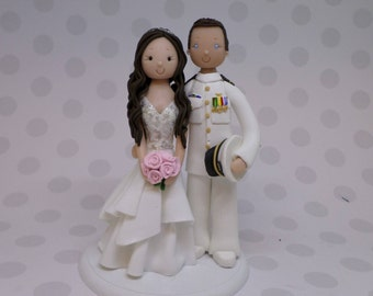 Bride & Groom Personalized Military Wedding Cake Topper