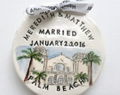 Custom wedding gift married ornament handmade personalized location date gift for couple from photo handmade pottery by Cathie Carlson