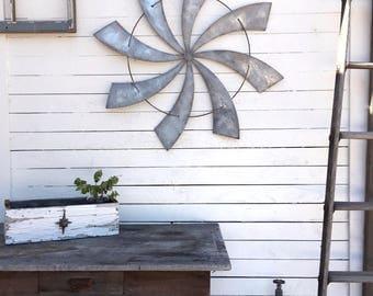 """Full Windmill Head, 35"""" Wall Decor, Rustic Farmhouse, Industrial Steel Windmill, Rusty Home Decor, SALE"""