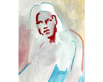 Portrait of a woman gouache on paper original artwork