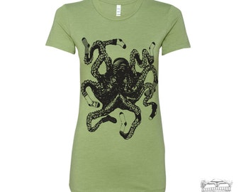 Womens Sock OCTOPUS Octopus Squid t shirt - hand screen printed tee s m l xl xxl (+ Colors)