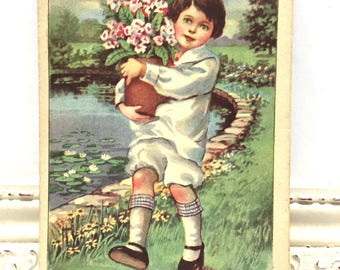 Vintage Birthday Postcard, Vintage Postcard, Paper Ephemera, Birthday Card, Little Boy in White Carrying a Pot of Pink Flowers