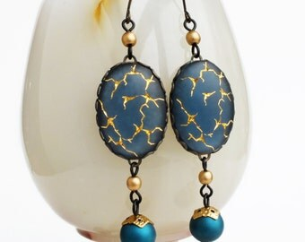 Dark Blue Chandelier Earrings Rare Vintage Gold Crackle Matte Glass Indigo Jewelry Brass Chain Dangles