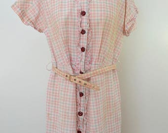 Vintage PINK PLAID cotton day dress with belt HANDMADE 1950's