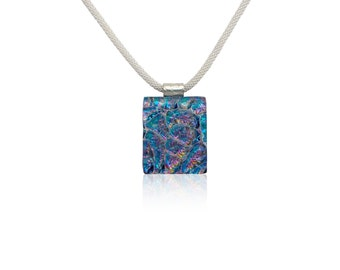 Blue, Purple & Gold Fused Glass Dichroic Layered Pendant Necklace - Dichroic Jewelry