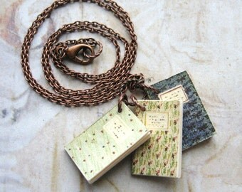 Story Teller - Handmade Copper Chain Necklace with Three Handmade Miniature Books with Gift Box
