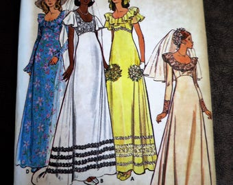 1960s Maxi Dress & Gown Sewing Pattern - Size 16 - Butterick - Bridal Gown-Wedding -Prom Dress
