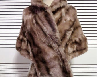 Faux Mink Stole - Capelet - Light Brown Shade.  Fabulous Fake Fur!  1960s ONE SIZE