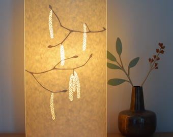 Tall Oval Hazel Catkins table lamp