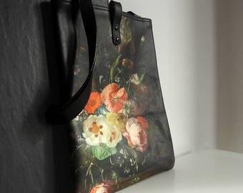 Leather Tote Bag / Laptop bag / shopper - Floral Il Mazzetto Print