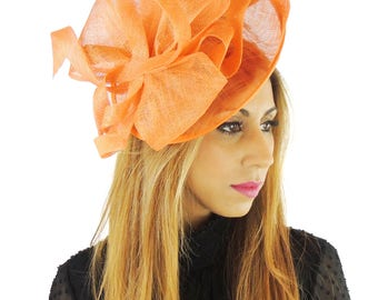 Orange Fascinator Hat for Weddings, Races, and Special Events With Headband