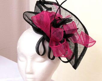Black hot pink fascinator derby fascinator hat wedding fascinator BLACK FAN