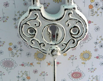 Padlock Shabby Style Chic Hook Jewelry Holder Lock Key Hook Classic White Leash Jewelry Coat Hat Keys Bathroom Towel Mudroom Nursery  Hook