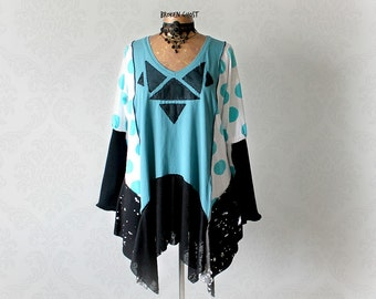 Women's Artsy Tunic Teal Black Boho Top Plus Size Clothing Drape Layered Shirt Funky Clothes Lagenlook Top Long Sleeve Tunic 1X 2X 'SABRINA'