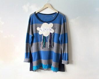 Rain Cloud Applique Shirt Colorful Fringe Upcycle Sweatshirt Casual Clothing Stripe Sweater Boho Chic Womens Blue Tunic Art Wear XL 'BELINDA