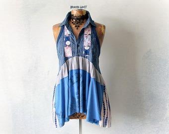 High Neck Tank Blue Shabby Top Recycled Clothes Women's Denim Shirt Lagenlook Tunic Country Mori Girl Empire Waist Rustic Boho Top M 'STELLA