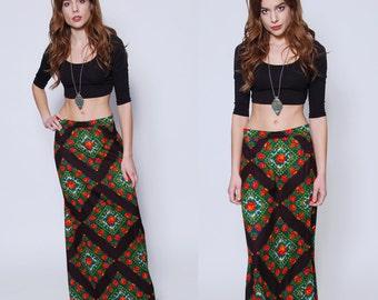 Vintage 70s FLORAL Maxi Skirt GYPSY Skirt PRINTED Boho Skirt Scarf Print Skirt