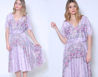 Vintage 70s LAVENDER Floral Dress GRADIENT Floral Dress Blouson Day Dress